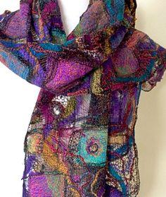 """Lacework Scarf"" from the Textile Art Gallery of  Michelle Mischkulnig © 2015 - Australian Textile Artist via #chelletextiles ♥•♥•♥Gorgeous!"