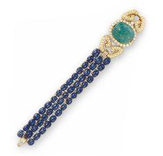 FD GALLERY | Van Cleef & Arpels | An Emerald, Sapphire and Diamond Bracelet, circa 1975