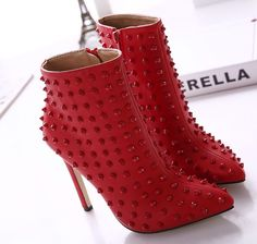 Pas cher Femmes SEXY RIVETS bout pointu FAUX cuir talons hauts aiguilles plate forme de la cheville bottes chaussures, Acheter  Ballerines pour femmes de qualité directement des fournisseurs de Chine: