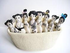 "SERAFINA rag doll by Etsy artist ""CUTandTEAR"".  Dolls are made using embroidery (no pattern)"