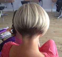 "hair_beauty-hairdare style women ""Very short bob hairstyles most popular this year ""Short graduated bob with very short nape. Short Stacked Haircuts, Short Bob Haircuts, Short Hair Cuts, Short Hair Styles, Short Wedge Hairstyles, Short Wedge Haircut, Bob Styles, Short Bobs, Pixie Cuts"