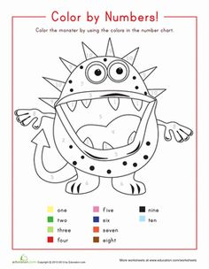 Kindergarten Counting & Numbers Color by Number Worksheets: Color by Number read number words Kindergarten Colors, Kindergarten Math Worksheets, Math Activities, Kindergarten Counting, Maths, Addition Worksheets, Number Worksheets, Free Worksheets, Number Chart