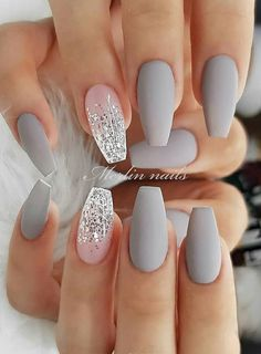 30 Fabulous Matte Nails Design For Short Nails - Page 9 of 30 - Latest Fashion Trends For Woman - short grey coffin nails, Matte short nails design, short nails acrylic, short square nails, almond - Short Nail Designs, Cute Nail Designs, Nail Designs For Weddings, Designs For Nails, Holiday Nail Designs, Ombre Nail Designs, Grey Matte Nails, Grey Nail Art, Matte Nail Art