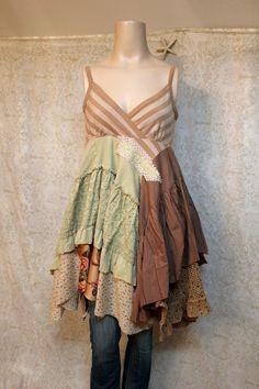 Boho Camisole, Shabby Chic Romantic, Bohemian Junk Gypsy Style, Mori Girl, Lagenlook