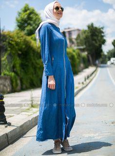 Kapşonlu Kot Pardesü - Koyu Mavi- Benin Style