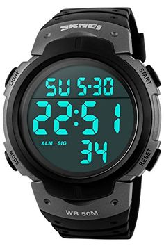 Findtime Military Mens Sports Chronograph Casual Black Waterproof Digital Watches *** See this great product.Note:It is affiliate link to Amazon.