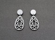 Filigree leaf earrings post earrings silver by elfinadesign