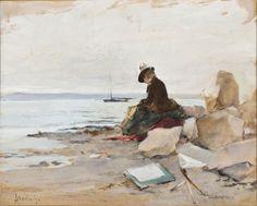 ~ Alfred Stevens ~ Belgian painter, Peintre a la plage Alfred Stevens, Wall Art Prints, Canvas Prints, Paintings I Love, Beach Art, Portraits, Find Art, Artwork, Illustration Art