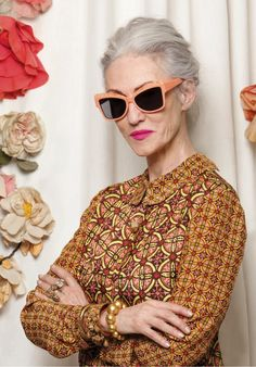 Linda Rodin (age 65) wearing ATOMIC sunglasses by Karen Walker