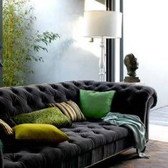 Love the deep dark grey with the cooler greens and chartruse. Sophisticated.