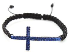 Black Lace Style Bracelet with a Blue Iced Out Cross JOTW. $2.95. 100% Satisfaction Guaranteed!. Great Quality Jewelry!