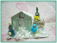 easter COTTAGE HOUSE putz style bottle brush tree by loveitshabby, $9.00