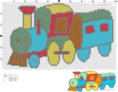 Baby train colorful cross stitch pattern free (click to view)