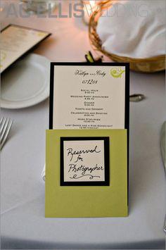 green, black and white wedding menu