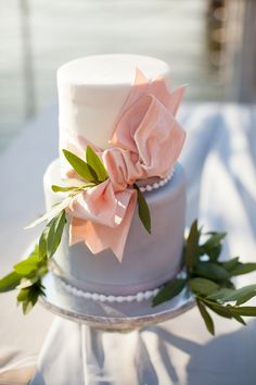 Peach and blue wedding cake by Cakes By Jula | Nautical-Inspired Wedding Ideas | Archetype Studio Inc
