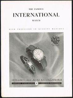 1940's Old Vintage 1948 International Watch Co Models Mid-Century Art Print Ad. #iwc #vintage #watch #ads #stawc #watches