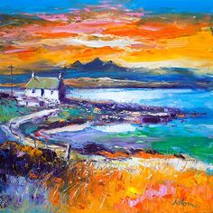 Contemporary Fine Art Print A Jura Sunset from Port Nan Gallan, Keills by the artist John Lowrie Morrison Landscape Artwork, Abstract Landscape Painting, Pastel Gras, Farm Paintings, Southwestern Art, Art Folder, Cottage Art, Painting Inspiration, Images