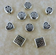 10 Assorted Tierra Cast Celtic Knot Silver beads 2 each of 5 designs, heart, round, diamond, ovals