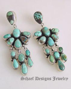 Artist signed GJ carico lake turquoise dangle earrings