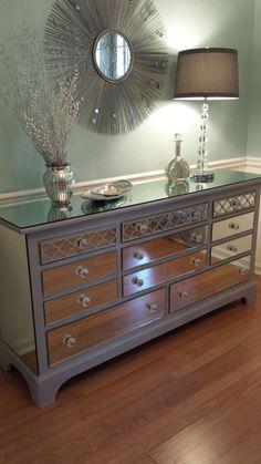 Mirrored Dresser Grey with Quatrefoil overlay by MirroredJewels #shabbychicdresserswithmirror #shabbychicbedroomsgrey #shabbychicdressersgrey