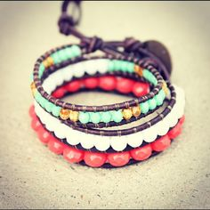 Bright orange and turquoise wrap bracelet