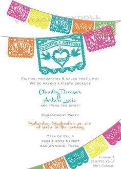 LOVE BIRDS Papel Picado Engagement Invitation for your fiesta. $25.00, via Etsy.