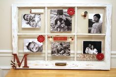 Amber Moody of My Crafty Corner has a great project on taking a vintage window and creating a beautiful photo display from it. Antique Windows, Vintage Windows, Old Windows, Sash Windows, Old Window Crafts, Old Window Projects, Window Ideas, Window Frames, Window Art