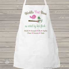 Apron grandma or nana world's best grandma voted by her flock - adult personalized bib apron - great Joan Walsh, Grandma Quotes, Adult Bibs, Bib Apron, Grandmother Gifts, Kitchen Aprons, Color Change, Gifts For Mom, World