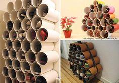 Para organizar os sapatos, tubos PVC. Cortados e colados, pintados ou revestidos