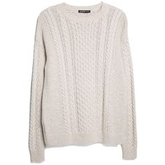 Cable-Knit Cotton Sweater ($15) ❤ liked on Polyvore featuring tops, sweaters, long sleeves, shirts, pink sweater, longsleeve shirt, pink cable sweater, ribbed sweater and pink top
