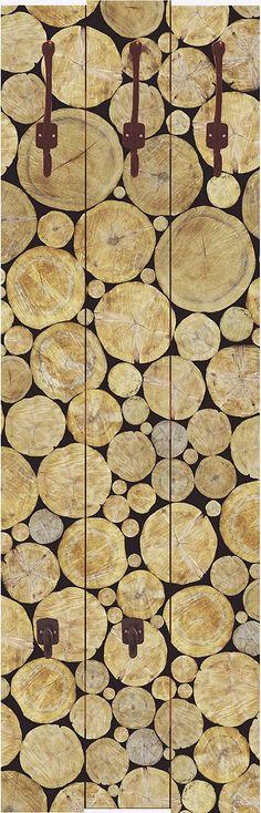 """Diese außergewöhnliche Designer-Wandgarderobe """"Vasily Merkushev: Gestapelte Baumstamm Struktur, natürlicher Hintergrund"""" ist ein echter Blickfang und verschönert jedes Ambiente. Mit besonders hochwertigen Druckfarben werden die Motive auf die Garderobenpaneele digital gedruckt. Die Farben strahlen auch noch nach vielen Jahren wie am ersten Tag. Die aus 16 mm dicker Holzfaserplatte gearbeiteten ..."""