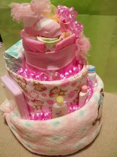 Side view of baby diaper cake