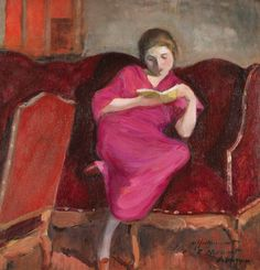Henri Lebasque | Femme assise sur un sofa, lisant, 1920