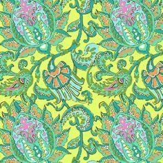 Amy Butler - Soul Blossoms Corduroy - Dancing Paisley Corduroy in Lemon
