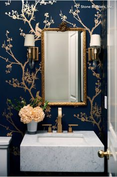 Powder Room Palettes: 10 Handsome Dark Blues 💙💙💙 Blue is the New Black Blue Powder Rooms, Powder Room Decor, Powder Room Design, Modern Powder Rooms, Black Powder Room, Powder Room Lighting, Gold Powder, Powder Room Wallpaper, Gold Bathroom