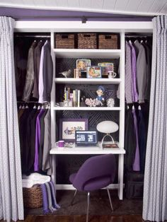 Purple Theme Closet Office  Great idea for son's walk in closet to have study space tucked away and still have room for clothes to be displayed neatly.  Just need to match to rest of bedroom color scheme.