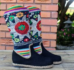 Womens Cowboy Boots In Colorful Ethnic Laos by SiameseDreamDesign, $72.00