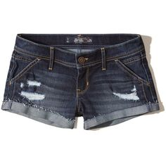 Hollister Low-Rise Denim Short-Shorts ($45) ❤ liked on Polyvore featuring shorts, destroyed dark wash, high-waisted shorts, ripped denim shorts, high waisted ripped shorts, ripped jean shorts and hot pants