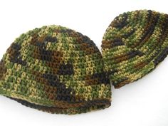 Baby Camouflage Cap  Crocheted. $12.00, via Etsy.(i'd make it knitted)
