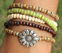 BOHEMIAN Flower Wrap Bracelet  5X Wrap by GypsyBohemianJewelry, $27.50