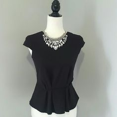 H&M Black Peplum Blouse Excellent condition. 63% polyester 31% vicos 6% elastane. Fast shipping! Reasonable offers accepted. Thank you for shopping my closet! H&M Tops Blouses