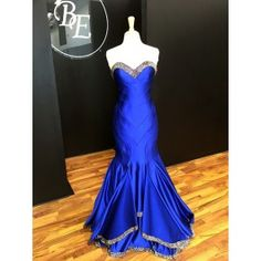 Can you believe this sapphire blue gown? Wowza! This one of a kind color of @MacDuggal style 70003 is only available @bridalelegance