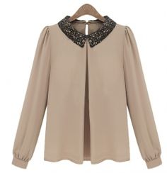 Paillette Collar Vintage Shirt from VJ-Style