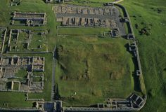 Roman Fort Ruins on Hadrian's Wall: Housestead was one of many forts built along Hadrian's wall to protect the Roman empire from barbarian tribes in northern Great Britain. (Photo Credit: Skyscan/Corbis)