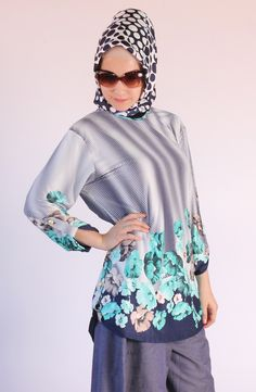 Çiçek baskılı tunik / kolyeli 5208, karaca butik, tesettür, abiye, hijab
