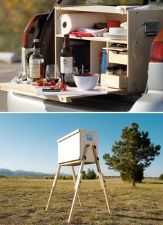 My Camp Kitchen.  I swear I've seen this before while camping with my Indian Guides Tribe.  One of the dad's had made it & talked about putting legs on it.  I wonder if this is his brainchild or not.