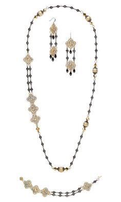 Double-Strand Necklace, Bracelet and Earring Set with SWAROVSKI ELEMENTS and Gunmetal-Plated Brass Chain