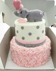 The White Kitten Bakes   Girl Baby Shower Elephant Theme