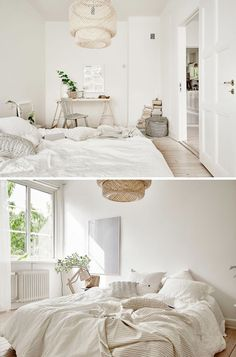I love this Gothenburg (Sweden) apartment which is decorated in lovely subtle color palette of white, grey, cream and beige. Natural materials such as rattan and wood give a warm touch. The bedroom, s