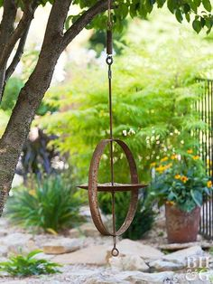 Transform a few vintage farm finds into a fresh, hip bird feeder.